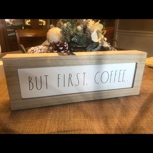 """New RAE DUNN """" BUT FIRST COFFEE."""" Wood Sign"""